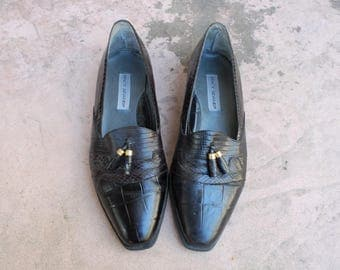 Vintage Mens 10.5 Stacy Adams Black Leather Shoes Tassel Loafers Oxfords Dress Shoes Classic Preppy Style Hipster Wedding Shoes Brogues