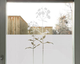 Flower Window Privacy Film, Privacy Decal for Front Door, Etched Glass Window Film, Floral Glass Decal, Frosted Window Privacy Decoration