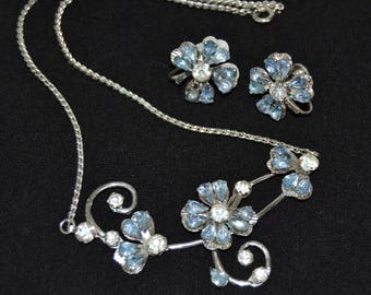 Vintage Necklace and Screw-Back Earrings Jewelry Set of Blue Rhinestone Clovers by Bugbee & Niles
