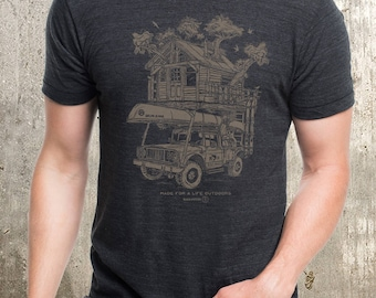Tree House T-Shirt - Screen Printed Men's T-Shirt - Men's Tri-Blend T-Shirt