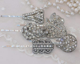 Set of 5 ART DECO Paste Rhinestone Hair Pins,Silver Clear Diamante Hair Pins,Bridesmaids Gift Jewelry,Repurposed Dress Clips,Weddings,Gift