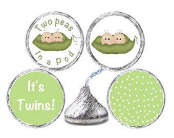 Printed 108 Baby Shower Candy Kiss Stickers Twins Labels - Pea Pods Pea Pod Twins Candy labels for Party Favors  **Discounts Available