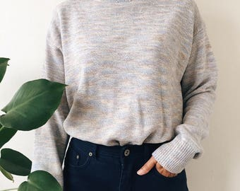 Vintage Pastel Knit Mock Neck Sweater / Speckled Knit Turtleneck Sweater / Pastel Blue Multicolor  Long Sleeve Oversized 90s Mock Neck