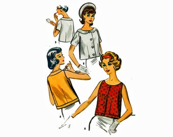 1950s Trapeze Blouse Easy to Sew Size 14 Bust 34 UNCUT Vintage Sewing Pattern 50s tops McCalls 4718