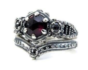 Ladies Steampunk Engagement Ring Set - Rose Cut Blood Red Garnet and Black Diamond - Sterling Silver