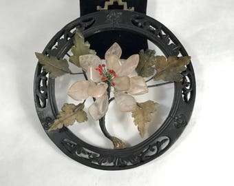 Vintage Chinese Stone Flower in Carved Wooden Frame