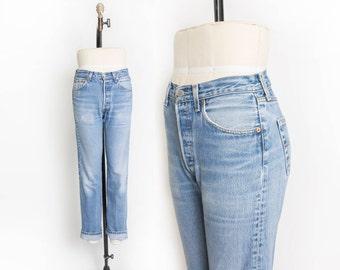 "Vintage Levi's 501 xx JEANS - Cotton Denim Straight Leg High Waist Boyfriend Jeans 1980s - 28"" x 31"" Small / Medium"