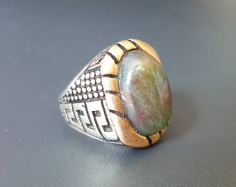 Men Pinky Ring Green Red Agate Gold Top Sterling Band Size 9