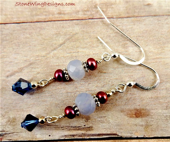 Blue Chalcedony, Rose Pearls and Swarovski Crystal Earrings