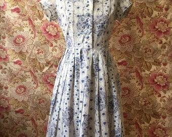 Vintage 50s Cotton Novelty Print Dress
