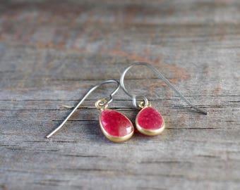 Titanium Earrings, Ruby in Vermeil on Titanium Ear Wires, July Birthstone