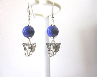 Trunk Up Elephant Earrings Purple Silver Good Luck Jewelry