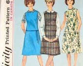 Easy Vintage 1960s Learn How to Sew Sewing Pattern Simplicity 5384 Jumper, Shift Dress, Long Short Sleeve Blouse Bust 34 Uncut Factory Folds