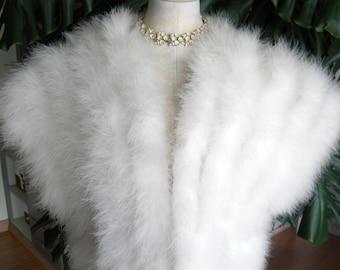 Pretty cream Marabou feather vest / shrug / coat / wedding
