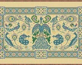 Birds of a Feather counted cross stitch pattern by Papillon Creations at thecottageneedle.com Celtic Scandinavian peacock aviary
