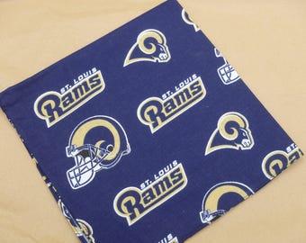 Rams Football Napkins, NFL Football, Cloth Napkins or Handkerchiefs - Set of Ten - CLEARANCE