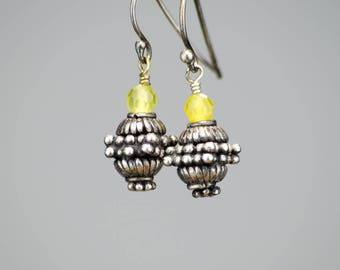 Oxidized Sterling Silver Earrings with Yellow-Green Jade