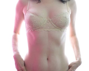 Women Sleepwear & Intimates Bras The Lacey Floral Nude Underwire Bra MADE TO ORDER