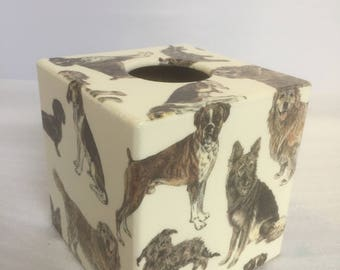 Dogs World Tissue Box Cover Kleenex wooden handmade in UK