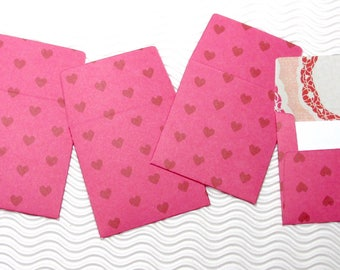 12 teeny tiny miniature square Valentine heart envelope mini note card sets stationery party favors weddings guest book