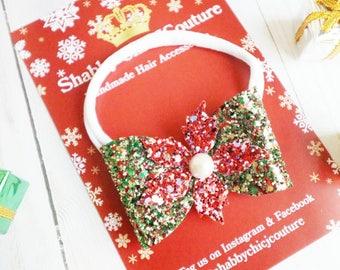 Christmas Bow Headband, Red and Green, Girls Headband, Baby Christmas Headband, Sparkly Bows, Handmade, Christmas Hair Bows, Poinsettia