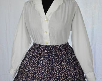 80s romantic Laura Ashley classic white blouse with scalloped collar and full sleeves size M