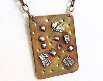 Copper & Sterling Silver Necklace, Copper Jewelry, Metalwork Copper, Mixed Metal Necklace, Copper Necklace, #181