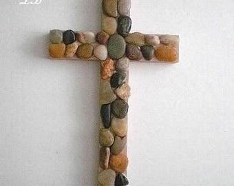 """RIVER ROCK Wall Cross - Hand painted wood cross in beige w/ river pebble rocks- 9.5"""" x 5.5"""""""