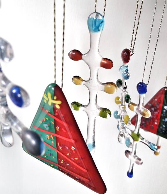 Glass Christmas Tree Ornaments, Retro, Mod, Minimal