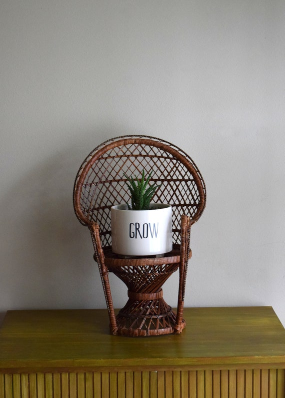 Large Vintage Dark Brown Wicker Peacock Chair Plant Stand -  Bohemiam, Natural, Earth Inspired, Eclectic
