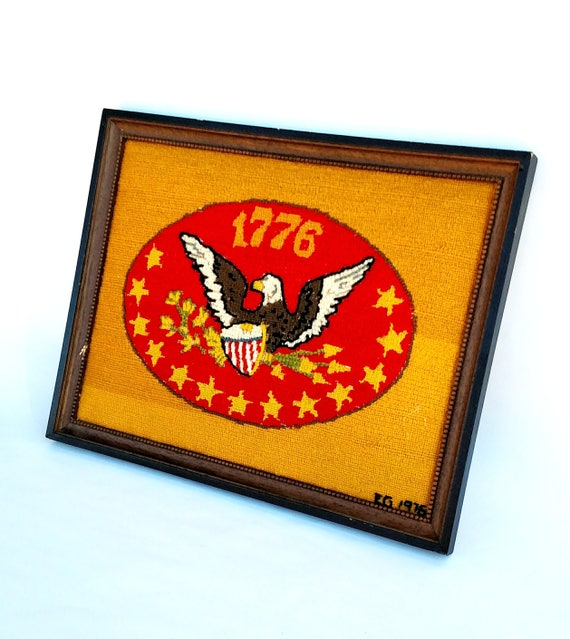 Vintage 1970's Bicentennial Needlepoint with Colorful Eagle Crest