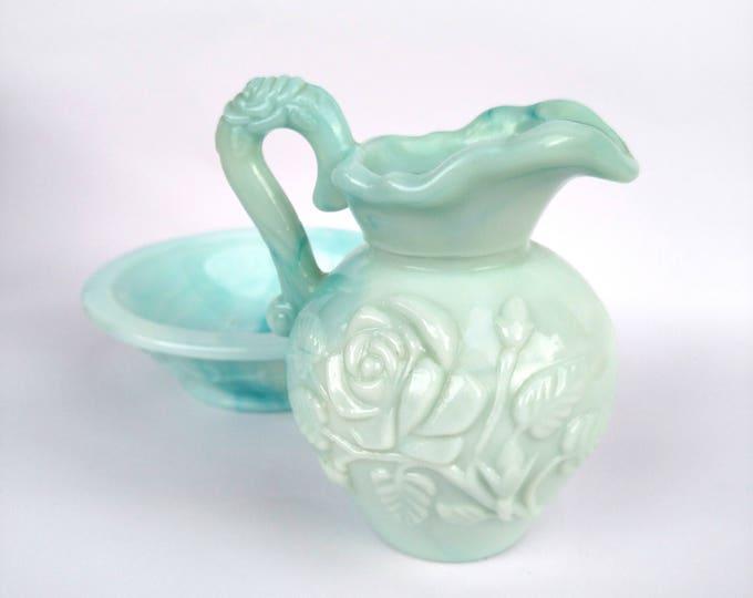 Vintage 1960's Avon Skin-So-Soft Bath Oil Green Milk Glass Pitcher and Bowl Set