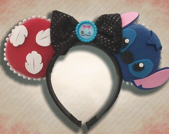 Hawaiian Alien Mouse Ear Headband w/ Bow