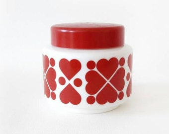 Vintage Milk Glass Canister with Red Plastic with Red Hearts