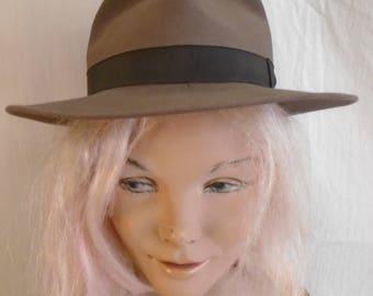 Vintage 1940s Fedora Mans Hat Wide Brim 6 7/8 Portis Label