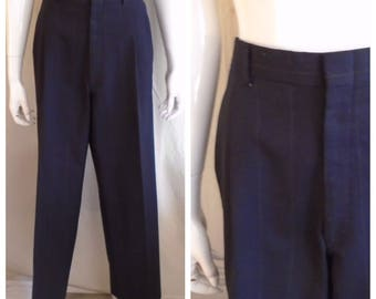 "Vintage 1980s Men's Pants 1940s Style Mans Pin Striped Palm Beach Pleated Pants Suspender Buttons 35"" Waist"