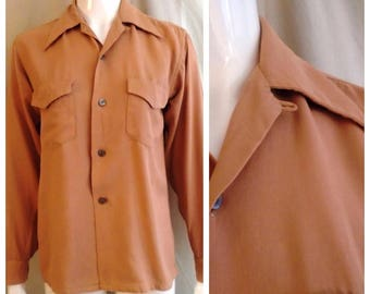 Vintage 1940s Gabardine Shirt Light Camel Brown Fruit of The Loom Label Top Loop Small