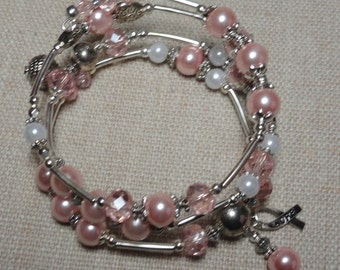 132 Breast Cancer Awareness  Wrap Bracelet