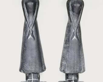Over-sized Charcoal Black Abstract Conical Hat Asian Female Figures Decorative Accents Home Decor Statues Sculpture