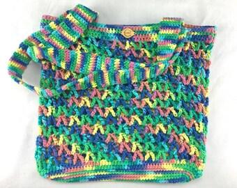Bright Rainbow Double Strap Crochet Mesh Market Bag, Eco-Friendly Cotton Grocery Tote, Reusable Market Bag, Farmers Market Bag