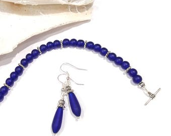 Cobalt Blue Sea Glass Jewelry Set, Blue Sea Glass Bracelet, Blue Sea Glass Earrings Beach Lovers Gift Sea Lovers Gift Jewelry Sets for Women