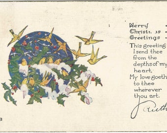 Snow Covered Holly bush with Yellow Snowbirds Flying all around it Vintage Postcard Christmas Greeting Card