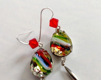 Striped glass stone faceted silver tone surgical steel fish hook earwire Swarovski