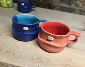 Custom listing for CrazyChic - cobalt/turquoise soup mug and coral/red soup mug