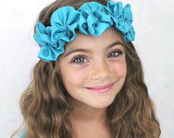 Turquoise Flower Headband - Flower Crown - Hippie Hair Accessories Teal Turquoise Flowers