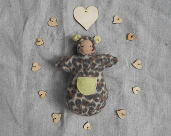 Pure wool and linen, waldorf doll, leopard bear snuggle pocket doll, all natural materials
