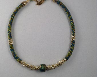 GREEN and BLUE BEADED Kumihimo Necklace with Murano Glass Focal Bead and Cream Pearls