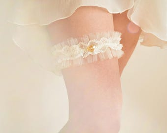 Off white lace & tulle bridal garter with Swarovski heart