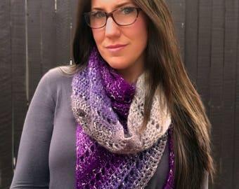 Crochet Pattern ~ Amethyst Shawl/Scarf ~ Crochet Pattern
