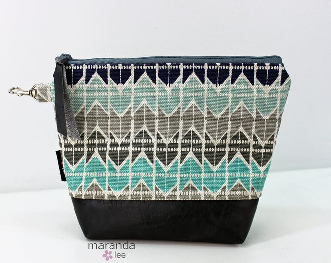 AVA Clutch Medium - Turquoise Quartz with Gray PU Leather READY to SHIp
